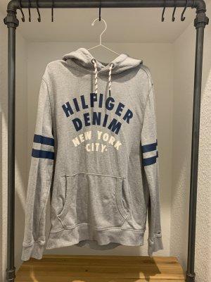 Tommy Hilfiger Denim Pull à capuche bleu foncé-gris clair coton