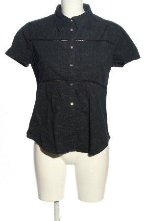 Tommy Hilfiger Denim Kurzarm-Bluse schwarz-wollweiß abstraktes Muster