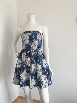 Tommy Hilfiger Denim Mini Kleid Bandeau schulterfrei blau rosa Schmetterlinge Palme gelb small 36