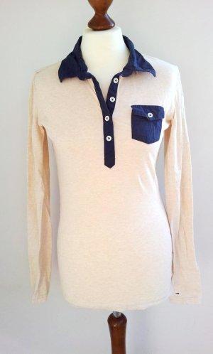 Tommy Hilfiger Denim Polo-Shirt M (36/38), Creme-Beige /Blau, NEU