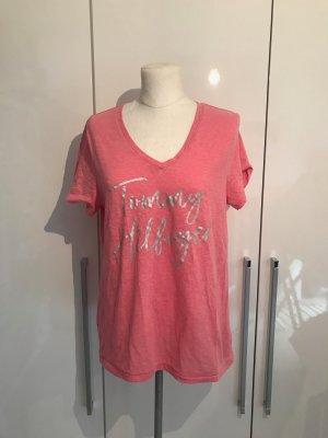 Tommy Hilfiger T-shirt col en V rose-rose coton