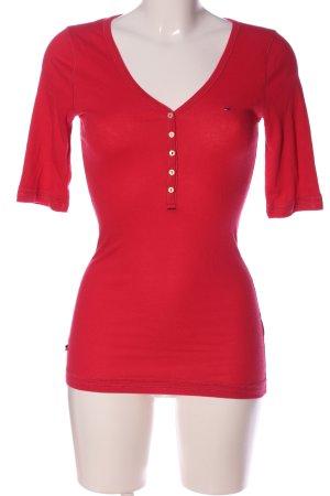 Tommy Hilfiger Denim V-hals shirt rood casual uitstraling