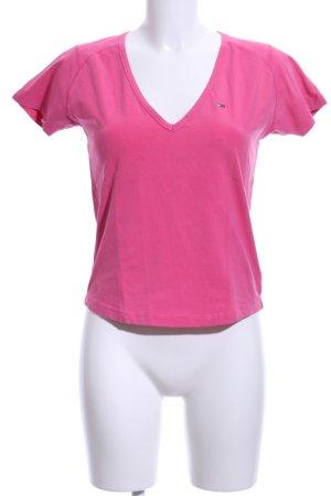Tommy Hilfiger Denim V-Ausschnitt-Shirt pink Casual-Look