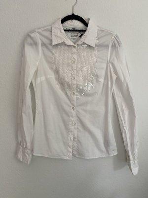 Tommy Hilfiger Denim weiße Bluse mit Pailletten, Gr. S