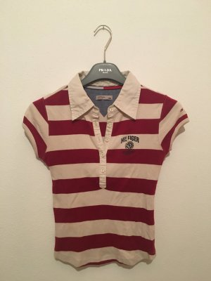 Tommy Hilfiger Denim xs rot beige geringelt gestreift Streifen Blockstreifen Shirt Oberteil Top Poloshirt tailliert