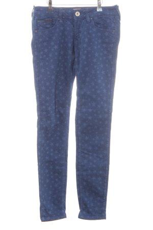 Tommy Hilfiger Five-Pocket-Hose blau-stahlblau Logo-Applikation aus Leder