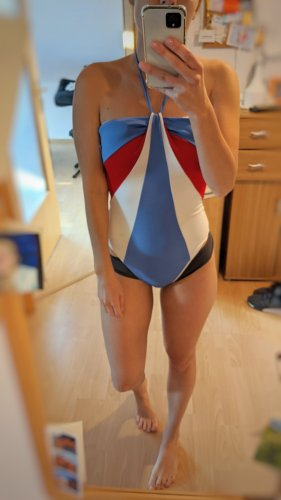 Tommy Hilfiger Flag stripe halterneck swimsuit/ badenzug Gr S