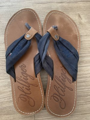Tommy Hilfiger Flip-Flop Sandals dark blue-brown