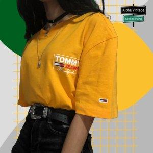 Tommy Hilfiger Gelbes T-Shirt Logodruck auf Rücken/Brust   S NEU