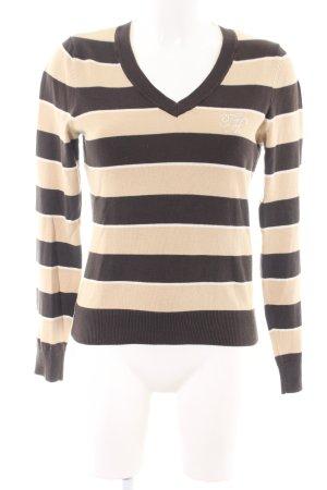 Tommy Hilfiger Golf V-Ausschnitt-Pullover wollweiß-braun Streifenmuster