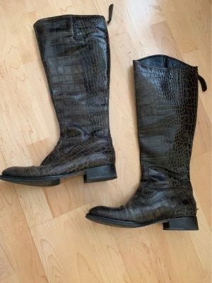 Tommy Hilfiger Jackboots khaki-dark green leather