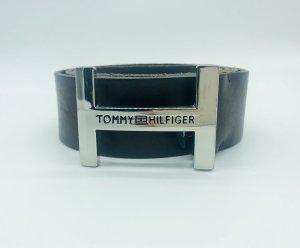 Tommy Hilfiger Cinturón de cuero marrón oscuro-color plata