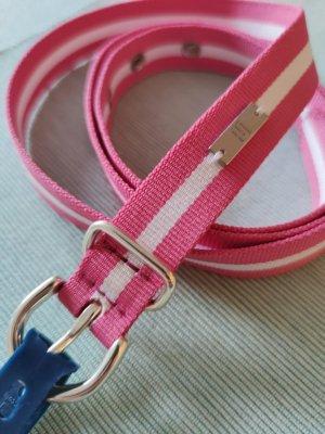 Tommy Hilfiger Cinturón de lona rosa-blanco tejido mezclado