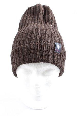 Tommy Hilfiger Bonnet en crochet brun torsades style décontracté