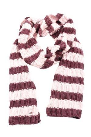 Tommy Hilfiger Szydełkowany szalik fiolet-różowy Wzór w paski W stylu casual