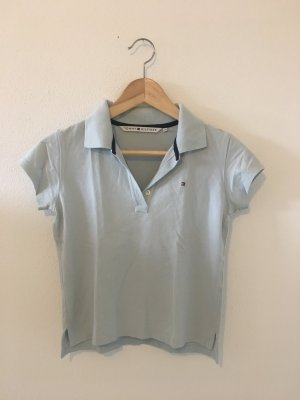 Tommy Hilfiger Hellblau bleu babyblau s small 34 Piqué Polokragen Polo Shirt Halbarm Oberteil Top Golf Segeln Reitsport