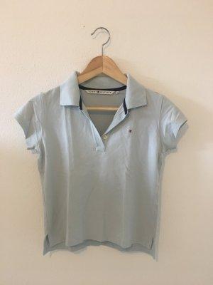 Tommy Hilfiger Hellblau bleu babyblau s small 34 Piqué Polokragen Polo Shirt Halbarm Oberteil Top Sommer Golf Segeln Reitsport