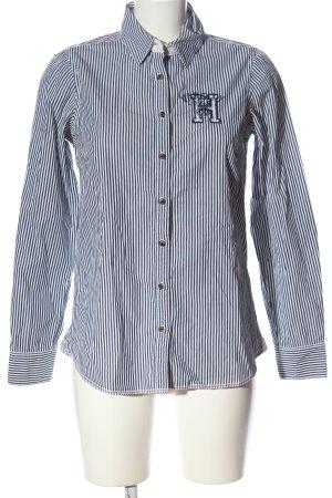 Tommy Hilfiger Hemd-Bluse blau-weiß Schriftzug gestickt Casual-Look