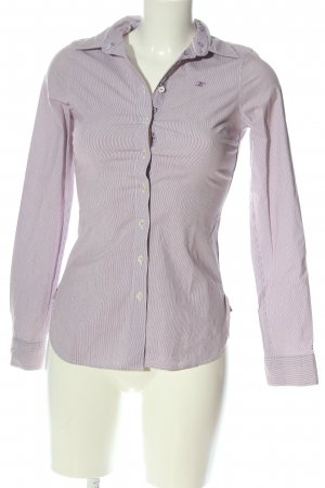 Tommy Hilfiger Hemd-Bluse weiß-lila Streifenmuster Casual-Look
