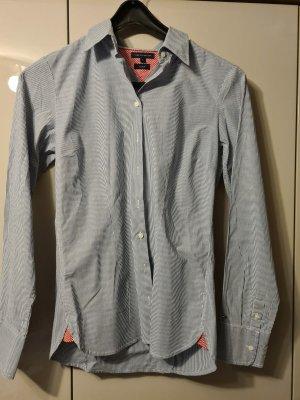 Tommy Hilfiger Hemd Bluse dunkelgrau-weiß Streifenmuster Stretch