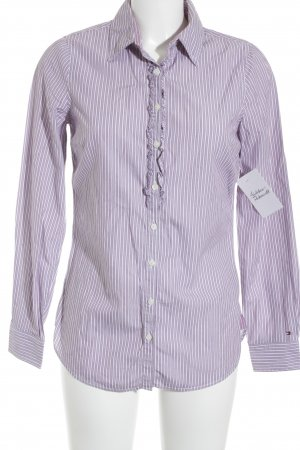 Tommy Hilfiger Hemd-Bluse weiß-violett Streifenmuster Elegant