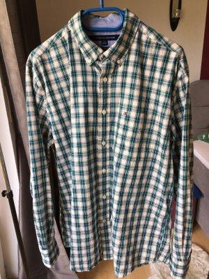 Tommy Hilfiger Herrenhemd grün blau weiß kariert Classic fit