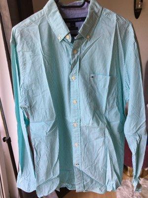 Tommy Hilfiger Herrenhemd grün weiß gestreift Classic fit