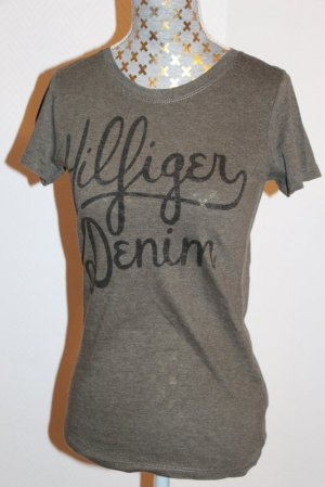 Hilfiger Denim T-shirt oliwkowy-czarny Tkanina z mieszanych włókien