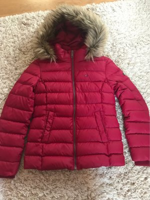 Tommy Jeans Quilted Coat dark red polyester
