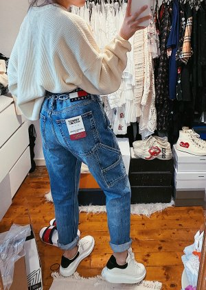 Tommy Hilfiger Jeans blaue Tapered Carpenter Cargo Boyfriendjeans