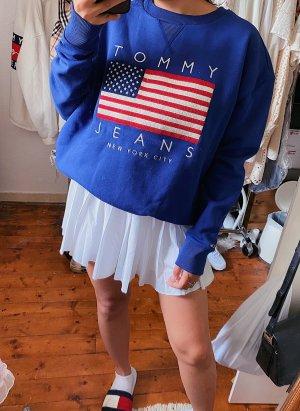Tommy Hilfiger Jeans lockeren blauen Pullover / Sweater / Pulli Logo