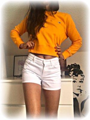 Tommy Hilfiger Jeans Sweater Pullover Crop, Neon Orange Gelb Senf, Größe S