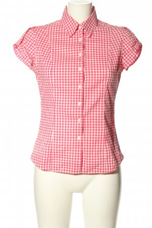 Tommy Hilfiger Kurzarm-Bluse pink-wollweiß Karomuster Casual-Look