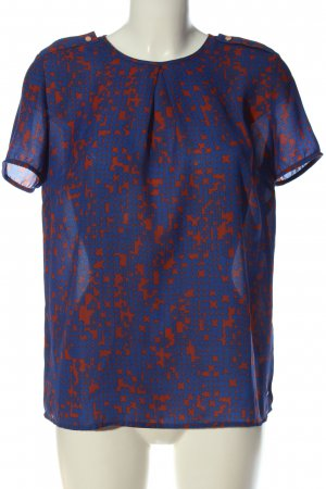 Tommy Hilfiger Kurzarm-Bluse blau-hellorange abstraktes Muster klassischer Stil