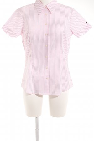 Tommy Hilfiger Kurzarmhemd weiß-rosa Streifenmuster klassischer Stil