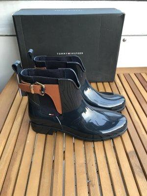 Tommy Hilfiger Wellington laarzen donkerblauw-bruin