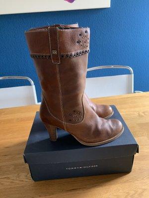 Tommy Hilfiger Krótkie buty brązowy-jasnobrązowy Skóra
