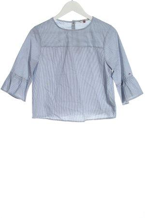 Tommy Hilfiger Langarm-Bluse weiß-blau Streifenmuster Casual-Look