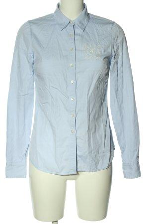 Tommy Hilfiger Langarmhemd blau-wollweiß Motivdruck Casual-Look