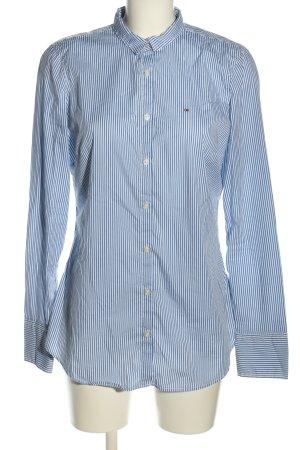 Tommy Hilfiger Langarmhemd blau-weiß Schriftzug gestickt Casual-Look
