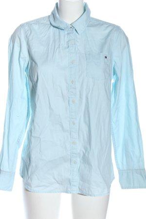 Tommy Hilfiger Langarmhemd blau Schriftzug gestickt Casual-Look
