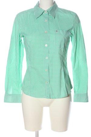 Tommy Hilfiger Langarmhemd grün-weiß Allover-Druck Elegant