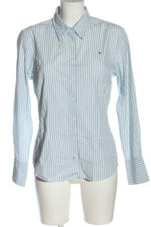 Tommy Hilfiger Langarmhemd türkis-weiß Schriftzug gestickt Business-Look