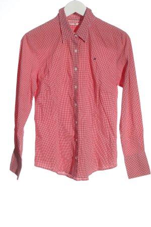 Tommy Hilfiger Langarmhemd rot-weiß Allover-Druck Business-Look