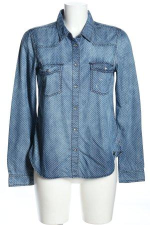 Tommy Hilfiger Langarmhemd blau-weiß Punktemuster Casual-Look