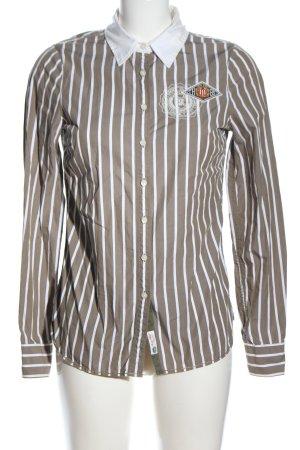 Tommy Hilfiger Langarmhemd hellgrau-weiß Schriftzug gestickt Casual-Look