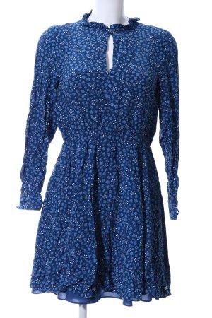 Tommy Hilfiger Langarmkleid blau-weiß Blumenmuster Casual-Look
