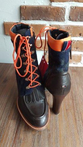 Tommy Hilfiger Leder/Textil ausgefallene Schnürboots, Ankle Boots  Superzustand! Größe 39/39,5