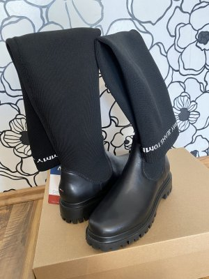 Tommy Jeans Buty nad kolano czarny-biały
