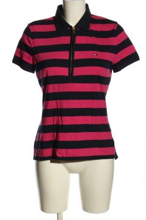 Tommy Hilfiger Polo-Shirt pink-schwarz Schriftzug gestickt Casual-Look